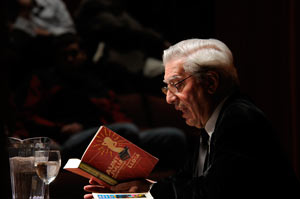 December 3rd, 2008, Vargas Llosa reading from Aunt Julia and the Scriptwriter. Photograph by Pierce Bounds