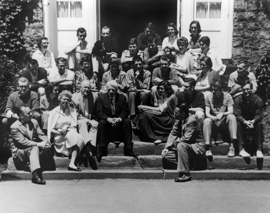 Jean Louise Stellfox, in 1959, with Robert Frost and other students. Photograph by Pierce Bounds